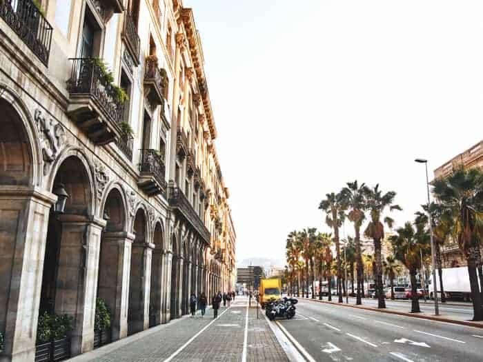 Barcelona street with cars