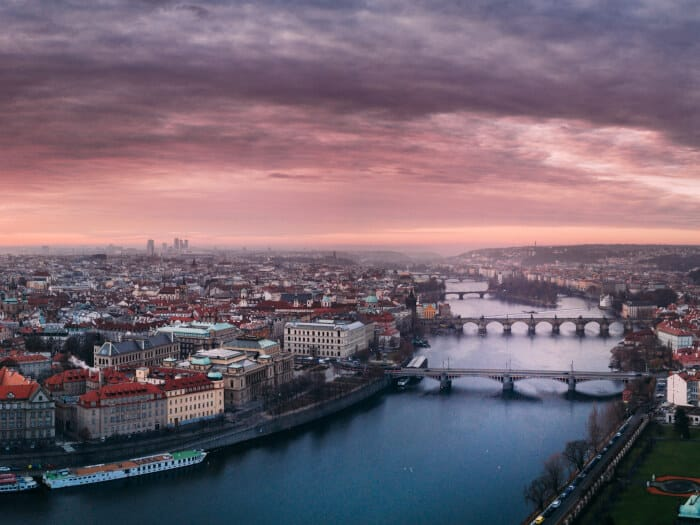 Eagle eye view of the bridges in Prague
