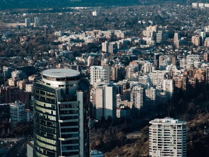 Eagle eye view of the city of Santiago