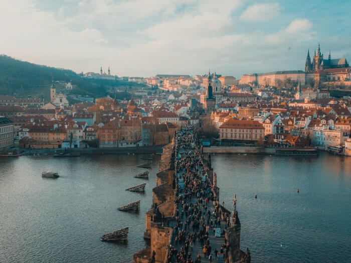 People gathered in Prague between the sea